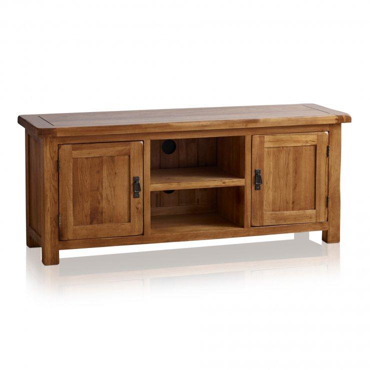 Original Rustic Solid Oak Large TV Cabinet - Image 6