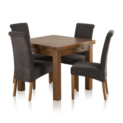 Sherwood Solid Oak Dining Set - 3ft Extending Table + 4 Charcoal Chairs