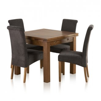 Rustic Solid Oak Dining Set - 3ft Extending Table + 4 Charcoal Chairs