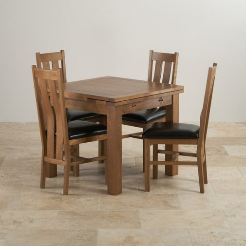 Rustic Solid Oak Dining Set - 3ft Extending Table with 4 Arched Back and Black Leather Chairs