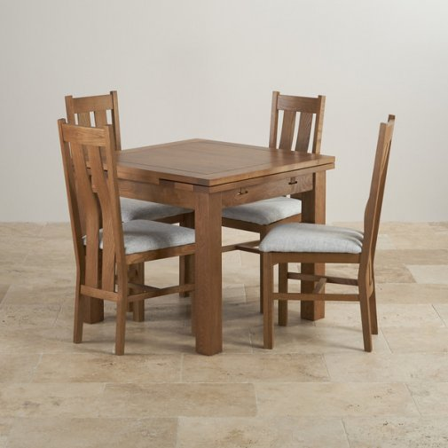 Rustic Solid Oak Dining Set - 3ft Extending Table with 4 Arched Back Grey Plain Fabric Dining Chairs