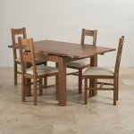Sherwood Solid Oak Dining Set - 3ft Extending Table with 4 Farmhouse and Plain Beige Fabric Chairs - Thumbnail 3