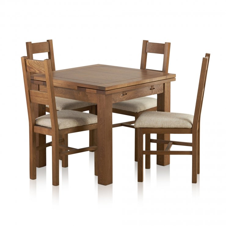 Sherwood Solid Oak Dining Set - 3ft Extending Table with 4 Farmhouse and Plain Beige Fabric Chairs - Image 8