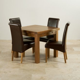 Rustic Solid Oak Dining Set - 3ft Extending Table With 4 Scroll Back Brown Leather Chairs