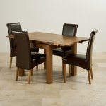Sherwood Solid Oak Dining Set - 3ft Extending Table With 4 Scroll Back Brown Leather Chairs - Thumbnail 3
