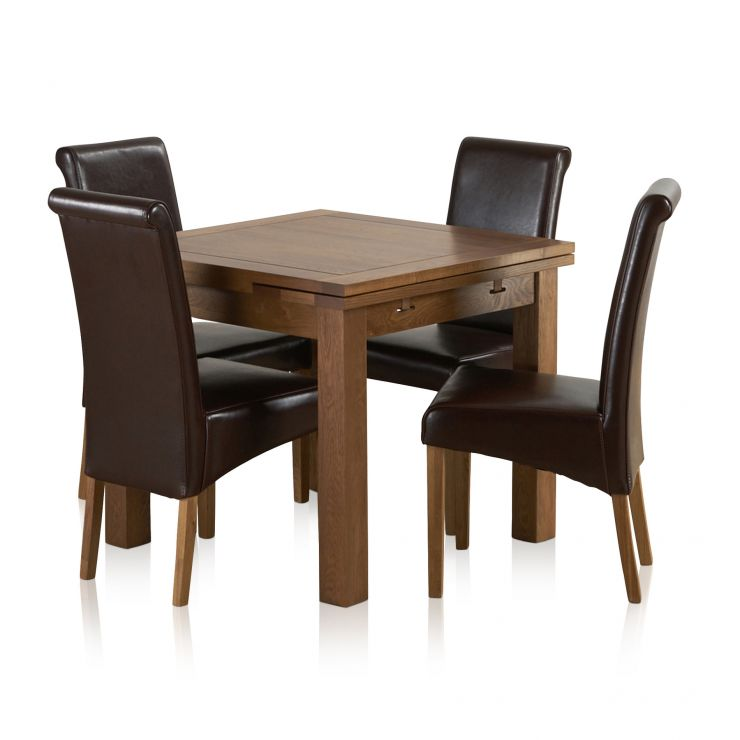 Sherwood Solid Oak Dining Set - 3ft Extending Table With 4 Scroll Back Brown Leather Chairs