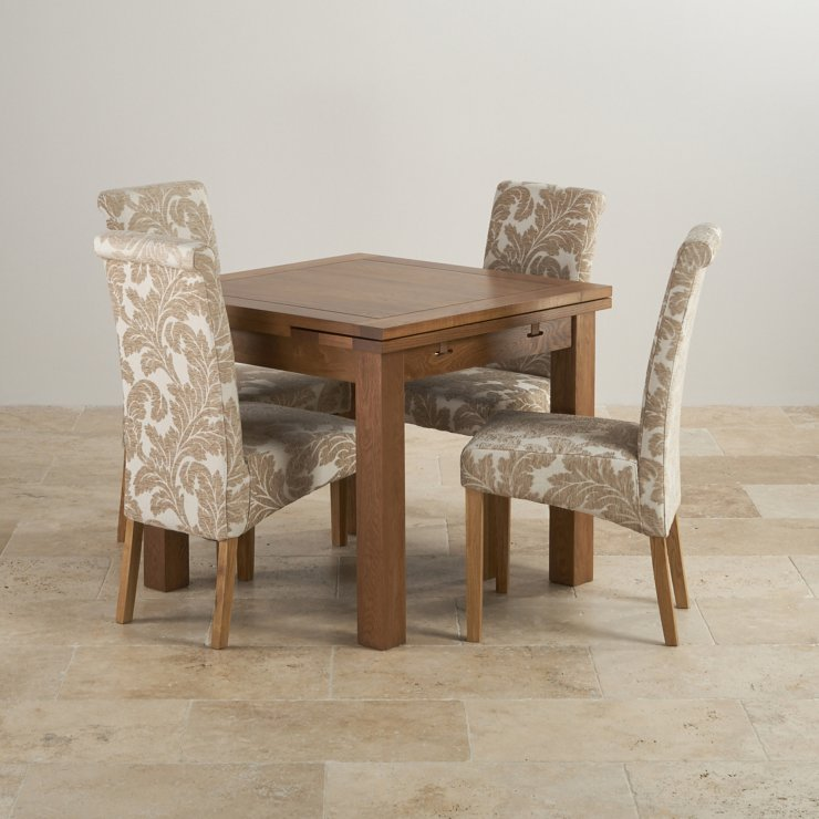 Rustic Solid Oak Dining Set - 3ft Extending Table with 4 Scroll Back Patterned Beige Fabric Chairs