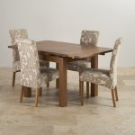Sherwood Solid Oak Dining Set - 3ft Extending Table with 4 Scroll Back Patterned Beige Fabric Chairs - Thumbnail 3