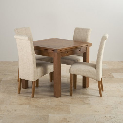 Rustic Solid Oak Dining Set - 3ft Extending Table with 4 Scroll Back Plain Beige Fabric Chairs