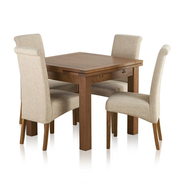 Sherwood Solid Oak Dining Set - 3ft Extending Table with 4 Scroll Back Plain Beige Fabric Chairs