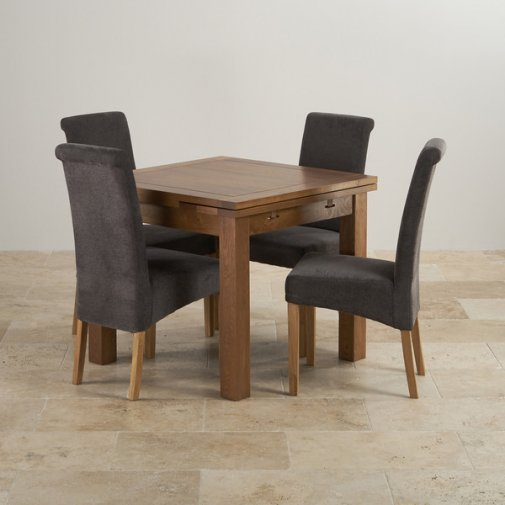 Bella Painted Oak Extending Dining Table + 6 Script Beige