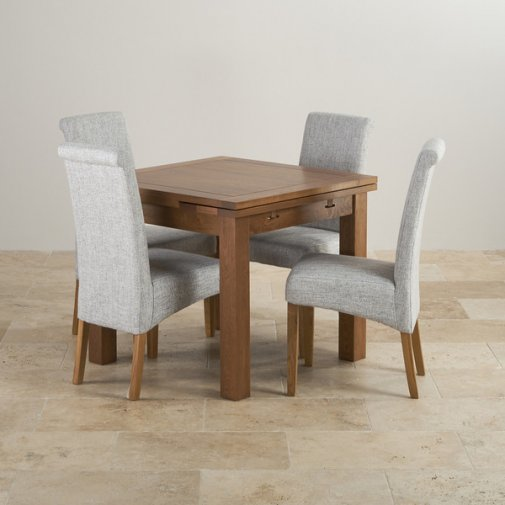 Rustic Solid Oak Dining Set - 3ft Extending Table with 4 Scroll Back Plain Grey Fabric Chairs