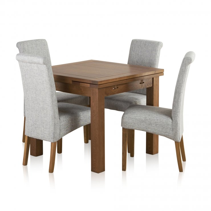 Sherwood Solid Oak Dining Set - 3ft Extending Table with 4 Scroll Back Plain Grey Fabric Chairs - Image 7