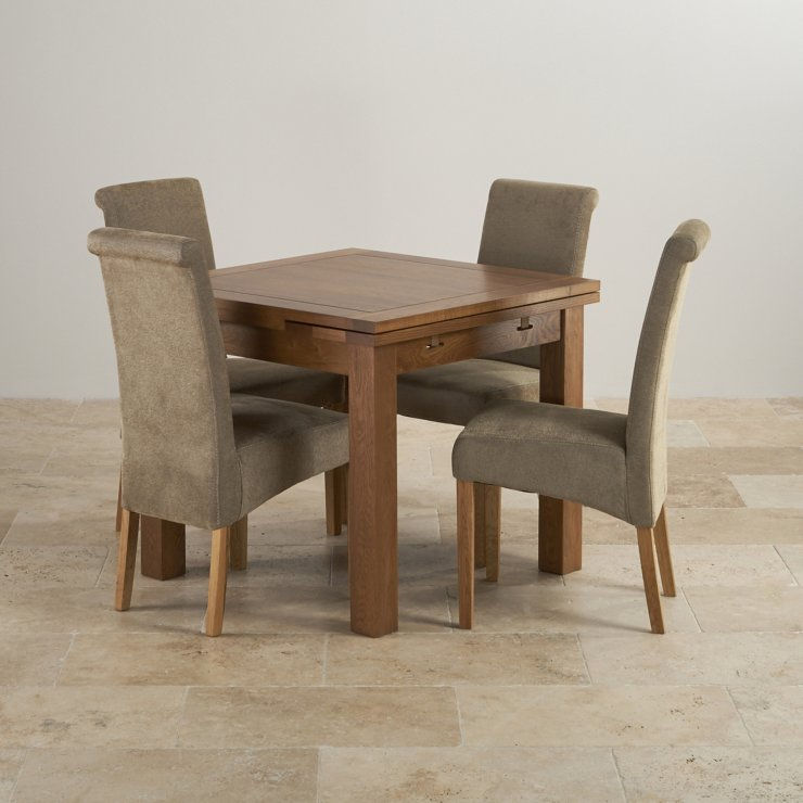 Rustic Solid Oak Dining Set - 3ft Extending Table with 4 Scroll Back Plain Sage Fabric Chairs