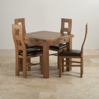 Rustic Solid Oak Dining Set - 3ft Extending Table with 4 Wave Back and Brown Leather Chairs