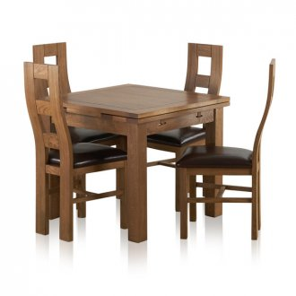 Sherwood Solid Oak Dining Set - 3ft Extending Table with 4 Wave Back and Brown Leather Chairs