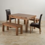 "Sherwood Oak Dining Set - 4ft 7"" Extending Table with 2 x 3ft 7"" Benches and 2 x Scroll Back Brown Leather Chairs - Thumbnail 2"