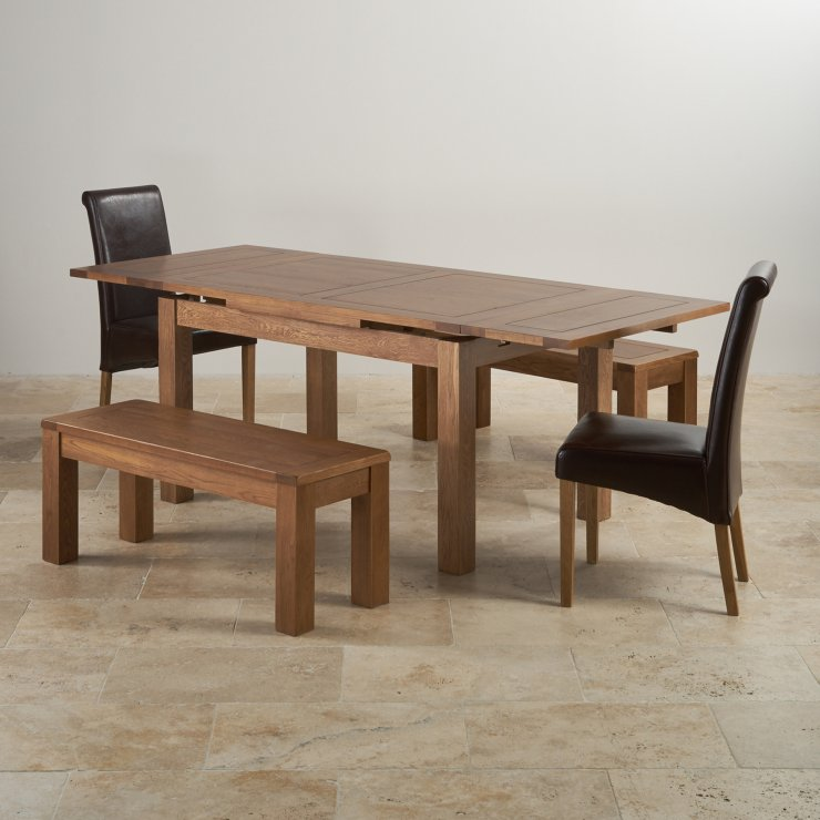 "Rustic Oak Dining Set - 4ft 7"" Extending Table with 2 x 3ft 7"" Benches and 2 x Scroll Back Brown Leather Chairs"