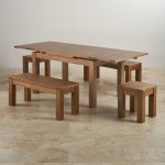 "Sherwood Oak Dining Set - 4ft 7"" Extending Table With 2 x 3ft 7"" Benches and 2 Square Stools - Thumbnail 2"