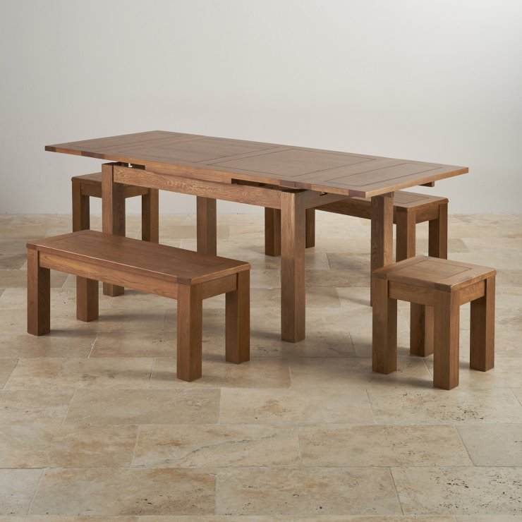"""Rustic Oak Dining Set - 4ft 7"""" Extending Table With 2 x 3ft 7"""" Benches and 2 Square Stools"""