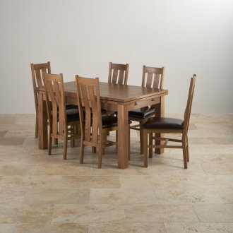 "Rustic Solid Oak Dining Set - 4ft 7"" Extending Table with 6 Arched Back and Brown Leather Chairs"