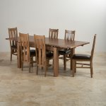 "Sherwood Solid Oak Dining Set - 4ft 7"" Extending Table with 6 Arched Back and Brown Leather Chairs - Thumbnail 3"