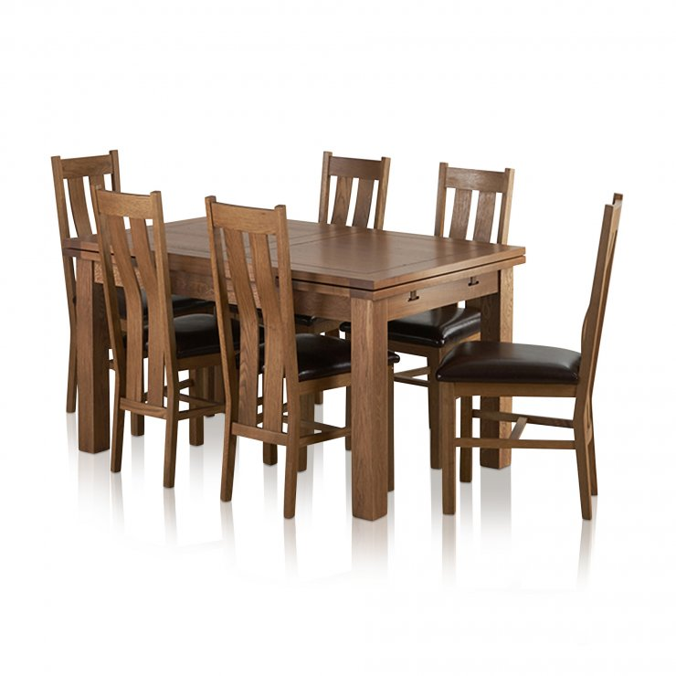 "Sherwood Solid Oak Dining Set - 4ft 7"" Extending Table with 6 Arched Back and Brown Leather Chairs - Image 7"