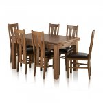 "Sherwood Solid Oak Dining Set - 4ft 7"" Extending Table with 6 Arched Back and Brown Leather Chairs - Thumbnail 1"