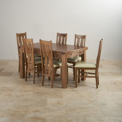 "Rustic Solid Oak Dining Set - 4ft 7"" Extending Table with 6 Arched Back and Cream Leather Chairs"