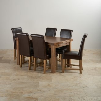"Rustic Solid Oak Dining Set - 4ft 7"" Extending Table with 6 Braced Scroll Back Brown Leather Chairs"