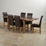 """Sherwood Solid Oak Dining Set - 4ft 7"""" Extending Table with 6 Braced Scroll Back Brown Leather Chairs - Thumbnail 2"""