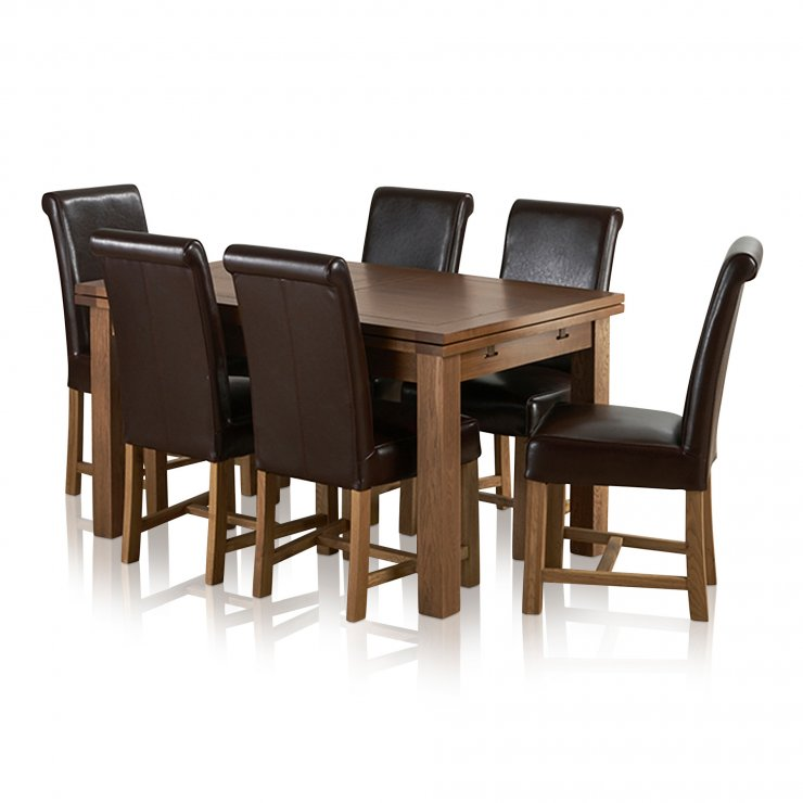 """Sherwood Solid Oak Dining Set - 4ft 7"""" Extending Table with 6 Braced Scroll Back Brown Leather Chairs - Image 7"""