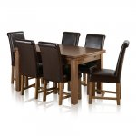 "Sherwood Solid Oak Dining Set - 4ft 7"" Extending Table with 6 Braced Scroll Back Brown Leather Chairs - Thumbnail 1"