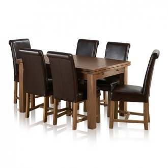 """Rustic Solid Oak Dining Set - 4ft 7"""" Extending Table with 6 Braced Scroll Back Brown Leather Chairs"""