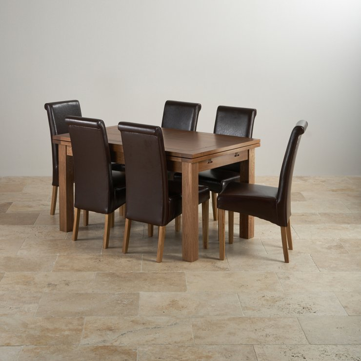 """Rustic Solid Oak Dining Set - 4ft 7"""" Extending Table with 6 Scroll Back Brown Leather Chairs"""