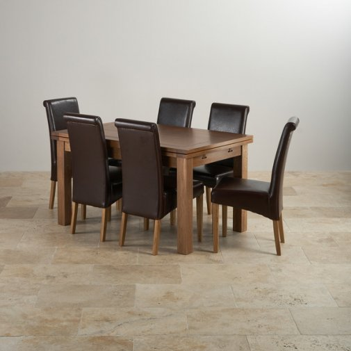 "Rustic Solid Oak Dining Set - 4ft 7"" Extending Table with 6 Scroll Back Brown Leather Chairs"
