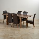 "Sherwood Solid Oak Dining Set - 4ft 7"" Extending Table with 6 Scroll Back Brown Leather Chairs - Thumbnail 2"