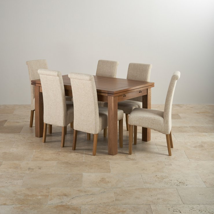 """Rustic Solid Oak Dining Set - 4ft 7"""" Extending Table with 6 Scroll Back Plain Beige Fabric Chairs"""