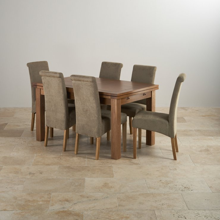 "Extendable Dining Set In Rustic Brushed Solid Oak: Rustic Oak 4ft 7"" Dining Table With 6 Sage Chairs"