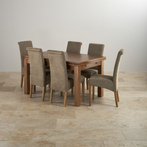 "Rustic Solid Oak Dining Set - 4ft 7"" Extending Table with 6 Scroll Back Plain Sage Fabric Chairs"