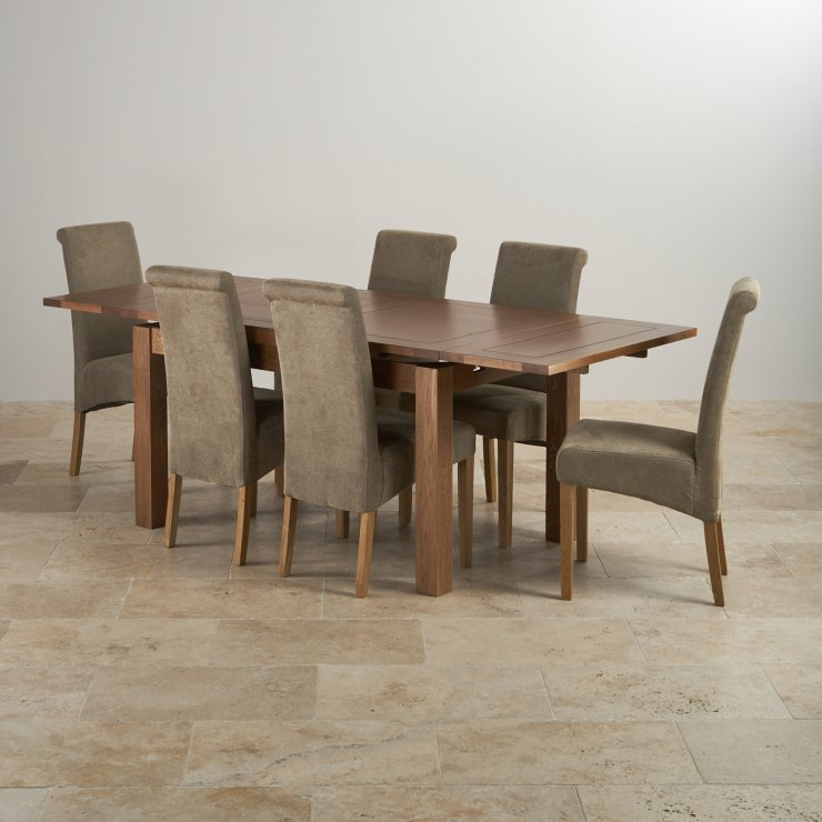 """Rustic Solid Oak Dining Set - 4ft 7"""" Extending Table with 6 Scroll Back Plain Sage Fabric Chairs"""
