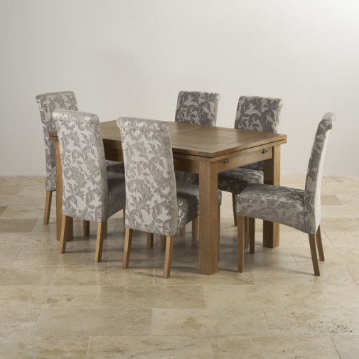 "Rustic Oak Dining Set - 4ft 7"" Extending Table with 6 Scroll Back Patterned Silver Fabric Chairs"