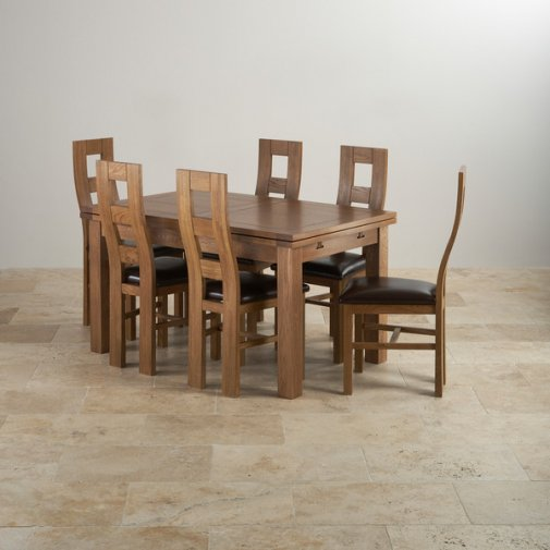 "Rustic Solid Oak Dining Set - 4ft 7"" Extending Table with 6 Wave Back and Brown Leather Chairs"