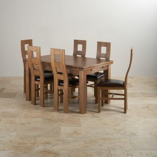 Knightsbridge Oak Dining Set Round Extending Table 4