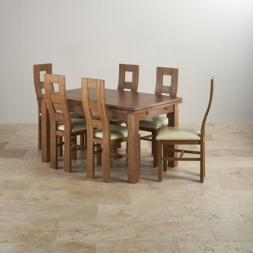 "Rustic Solid Oak Dining Set - 4ft 7"" Extending Table With 6 Wave Back and Cream Leather Chairs"