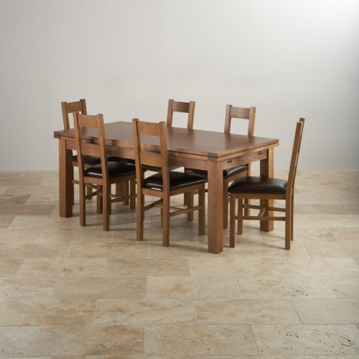Rustic Solid Oak Dining Set - 6ft Extending Table with 6 Farmhouse and Brown Leather Chairs