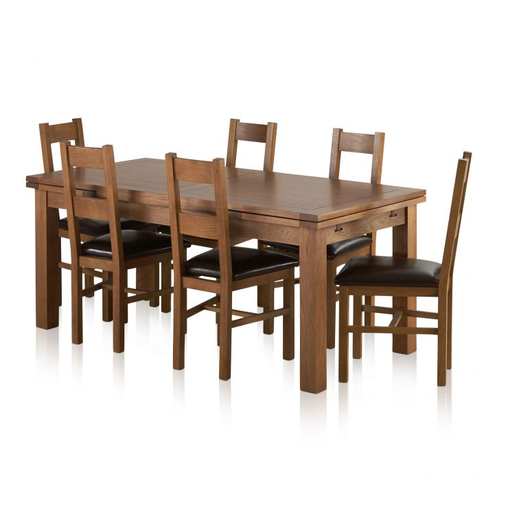 Sherwood Solid Oak Dining Set - 6ft Extending Table with 6 Farmhouse and Brown Leather Chairs