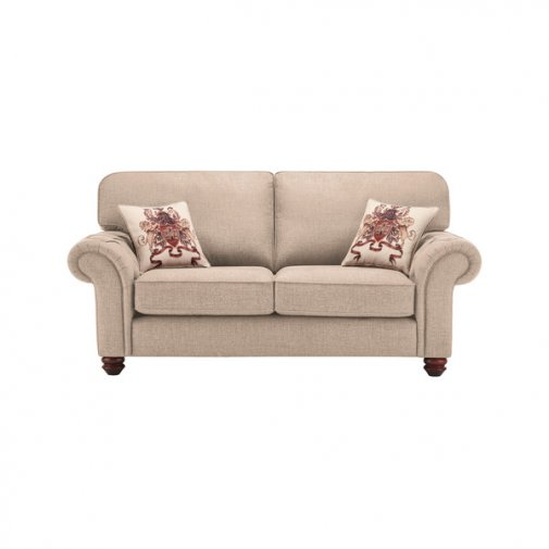 Sandringham 2 Seater High Back Sofa in Beige with Beige Scatter