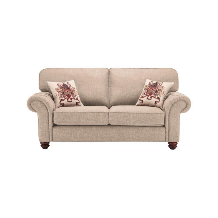 Sandringham 2 Seater High Back Sofa in Beige with Beige Scatter - Image 1