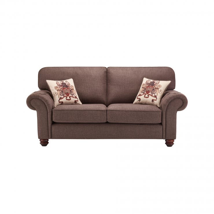 Sandringham 2 Seater High Back Sofa in Brown with Beige Scatter - Image 1